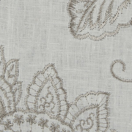 Picture of Linen Floral White upholstery fabric.