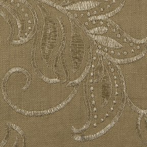 Picture of Linen Leaf Ochre upholstery fabric.