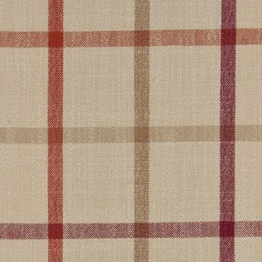 Picture of Casual Plaid Barn Red upholstery fabric.