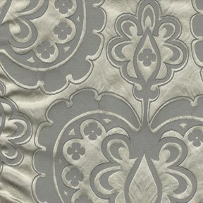 Picture of Majestic Heart Platinum upholstery fabric.
