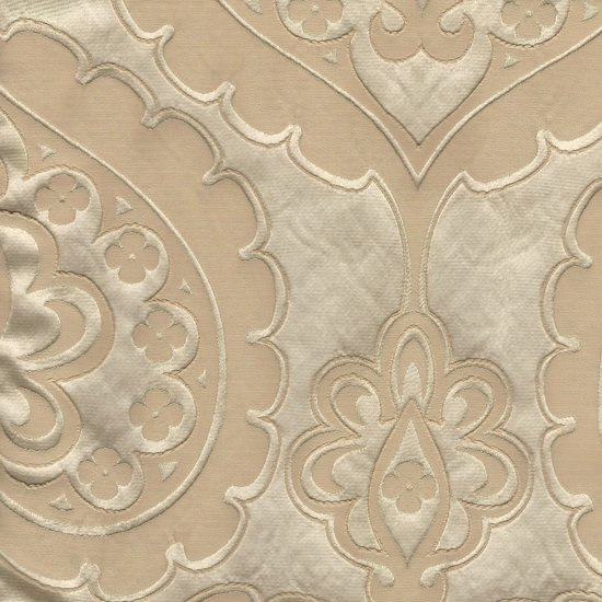 Picture of Majestic Heart Champagne upholstery fabric.