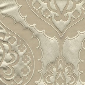 Picture of Majestic Heart Latte upholstery fabric.