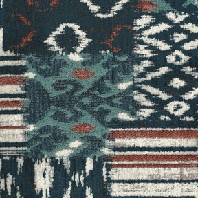 Picture of Bohemian Blue upholstery fabric.